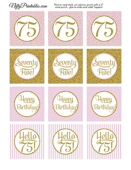 75th Birthday Cupcake Toppers Pink Gold Nifty Printables