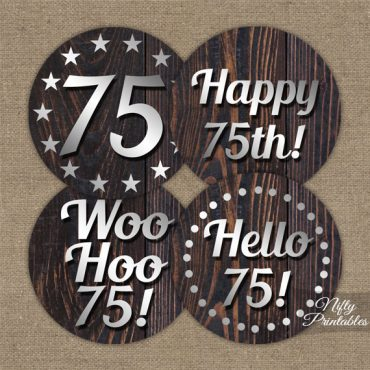 75th Birthday Cupcake Toppers - Rustic Wood