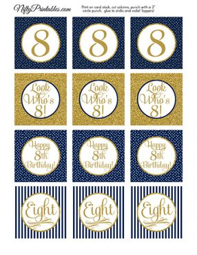 8th Birthday Cupcake Toppers - Navy Blue Gold
