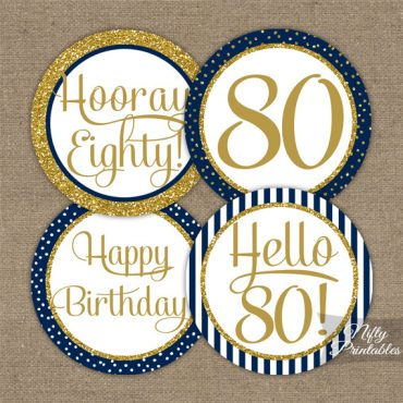 80th Birthday Cupcake Toppers - Navy Blue Gold