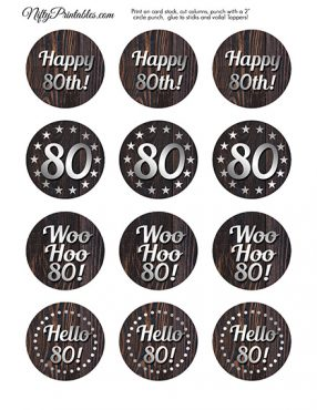 80th Birthday Cupcake Toppers - Rustic Wood