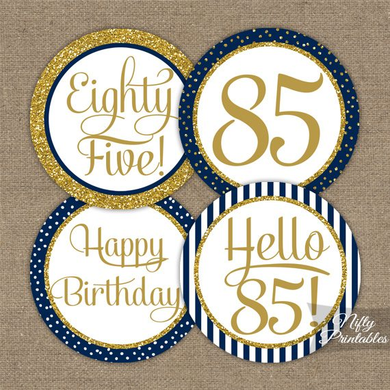 85th Birthday Cupcake Toppers Navy Blue Gold