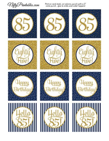 85th Birthday Cupcake Toppers - Navy Blue Gold