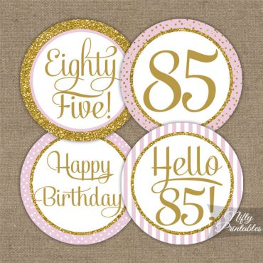 85th Birthday Cupcake Toppers - Pink Gold
