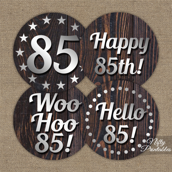 85th Birthday Cupcake Toppers - Rustic Wood