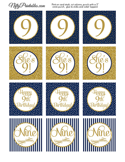 9th Birthday Cupcake Toppers - Navy Blue Gold