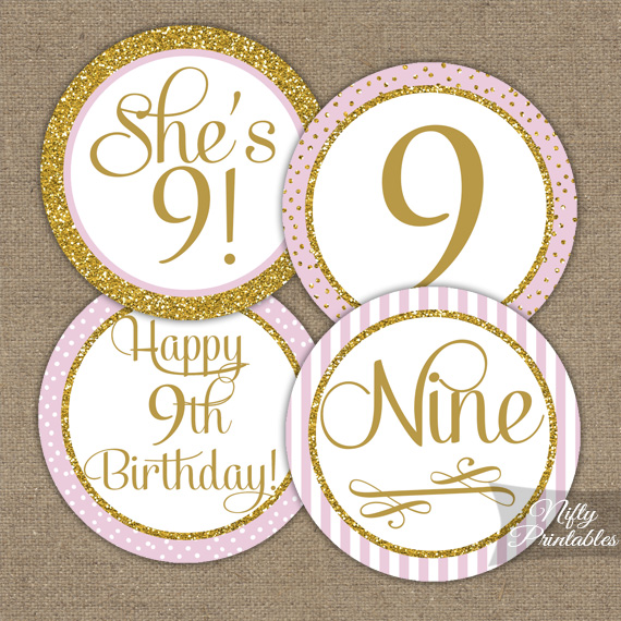 9th Birthday Cupcake Toppers - Pink Gold