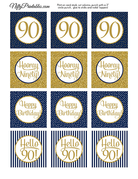 90th Birthday Cupcake Toppers - Navy Blue Gold