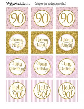 90th Birthday Cupcake Toppers - Pink Gold