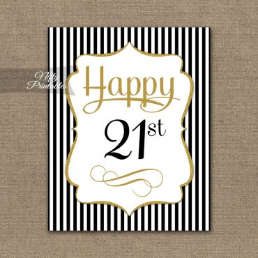 21st Birthday Sign - Black Gold