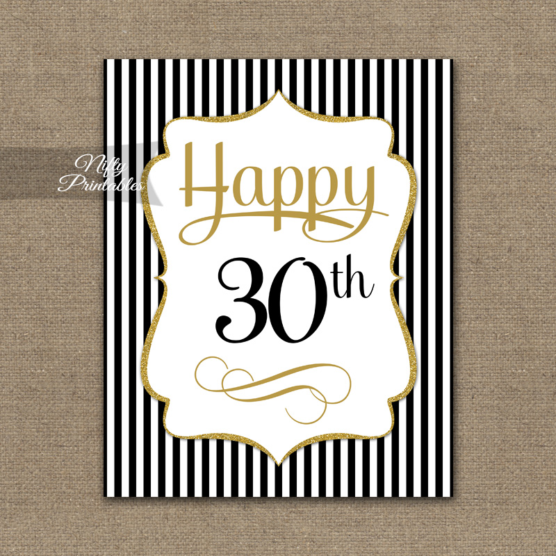 30th Birthday Sign - Black Gold