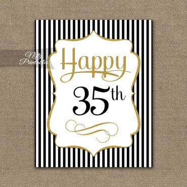 35th Birthday Sign - Black Gold