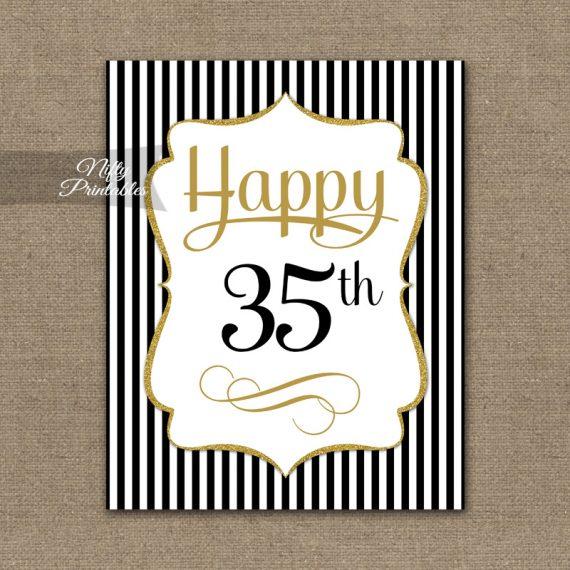 35th Birthday Sign - Black Gold