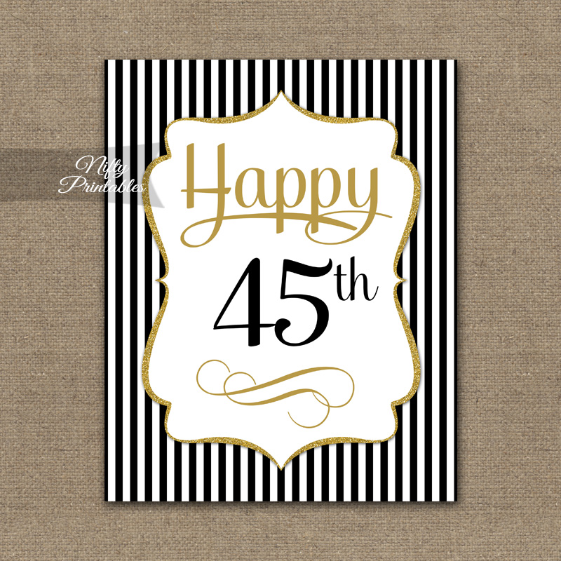 45th Birthday Sign - Black Gold