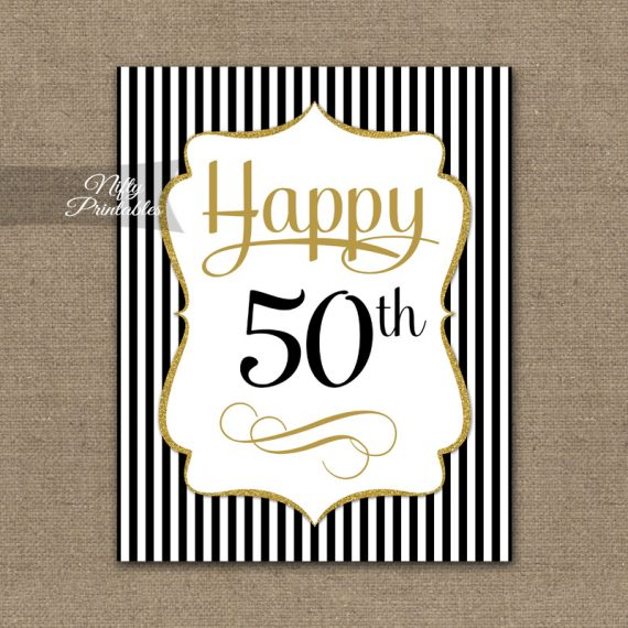 50th Birthday Sign - Black Gold