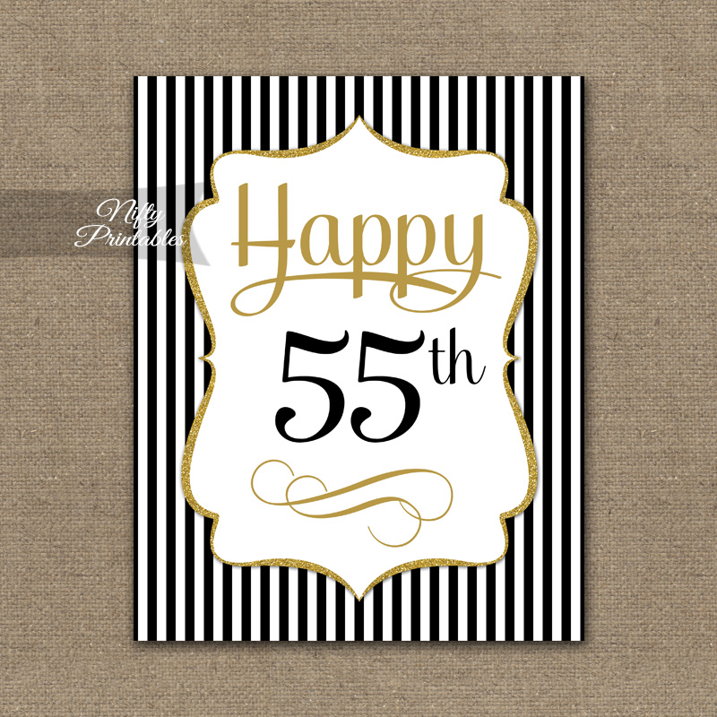 55th Birthday Sign - Black Gold