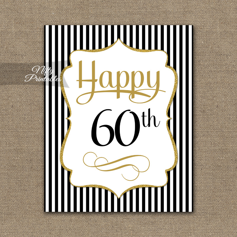60th Birthday Sign - Black Gold
