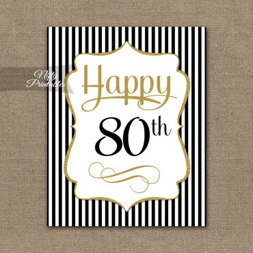 80th Birthday Sign - Black Gold
