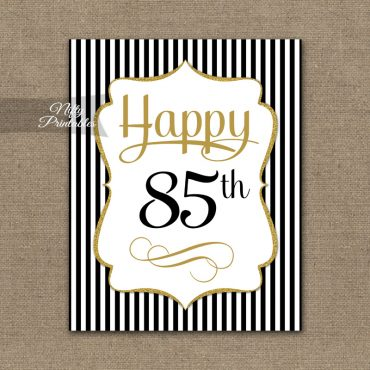 85th Birthday Sign - Black Gold