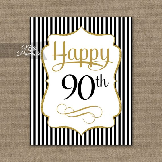 90th Birthday Sign - Black Gold