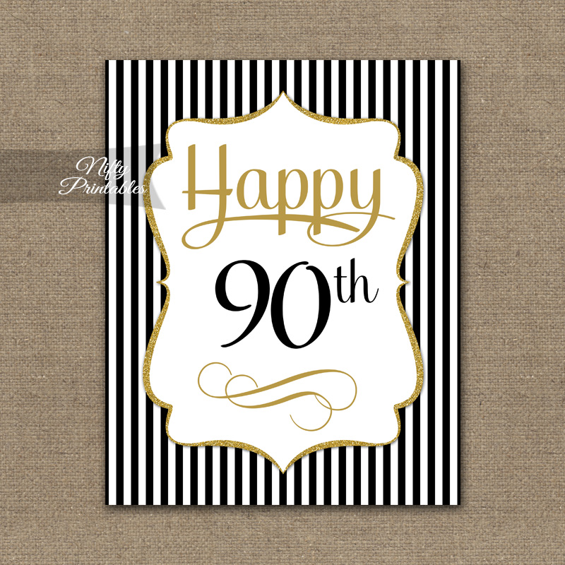 90th Birthday Sign - Black Gold
