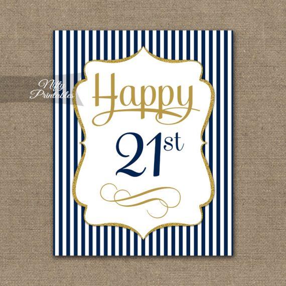 21st Birthday Sign - Navy Blue Gold