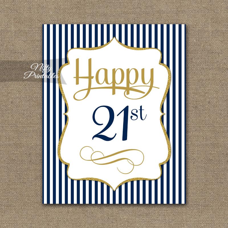 21st Birthday Sign Navy Blue Gold