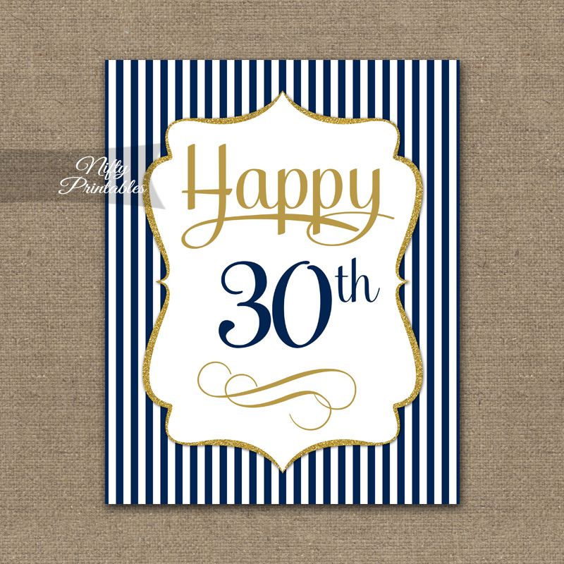 30th Birthday Sign - Navy Blue Gold