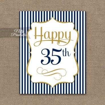 35th Birthday Sign - Navy Blue Gold