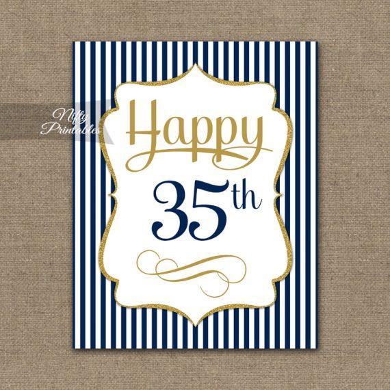 35th Birthday Sign - Navy Blue Gold
