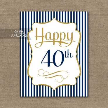 40th Birthday Sign - Navy Blue Gold