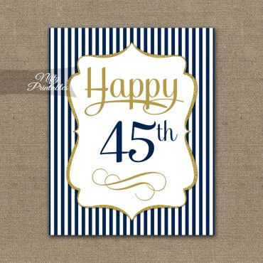 45th Birthday Sign - Navy Blue Gold