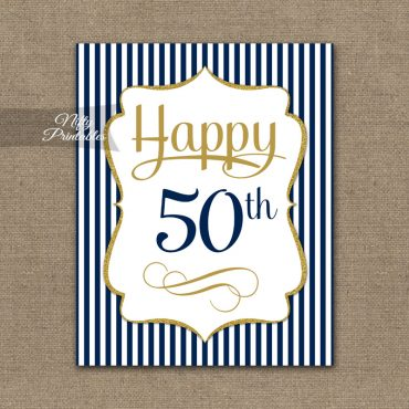 50th Birthday Sign - Navy Blue Gold