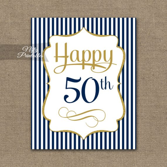 50th Birthday Sign - Navy Blue Gold