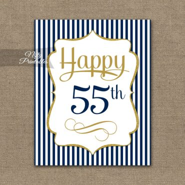 55th Birthday Sign - Navy Blue Gold