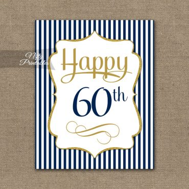 60th Birthday Sign - Navy Blue Gold