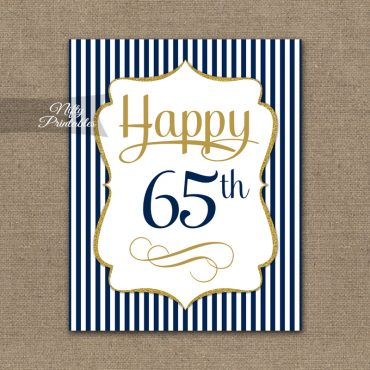 65th Birthday Sign - Navy Blue Gold