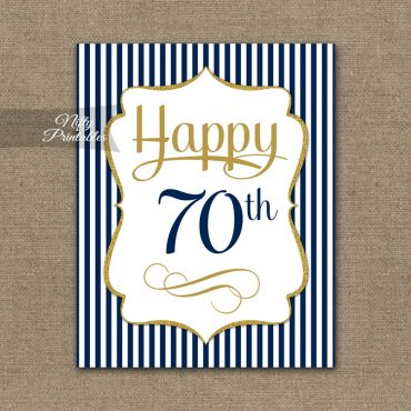 70th Birthday Sign - Navy Blue Gold
