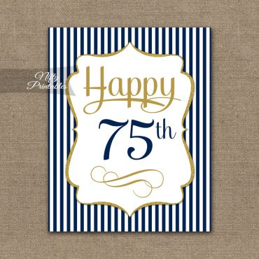75th Birthday Sign - Navy Blue Gold