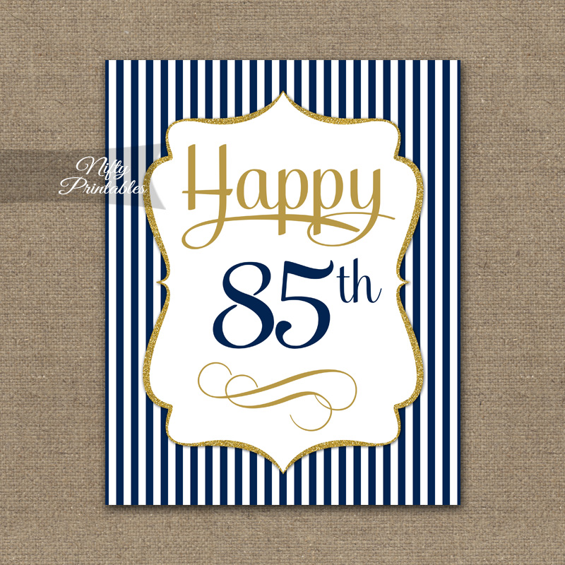 85th Birthday Sign Navy Blue Gold