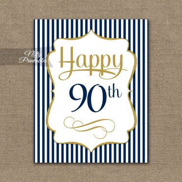 90th Birthday Sign - Navy Blue Gold
