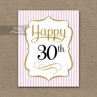 30th Birthday Sign - Pink Gold
