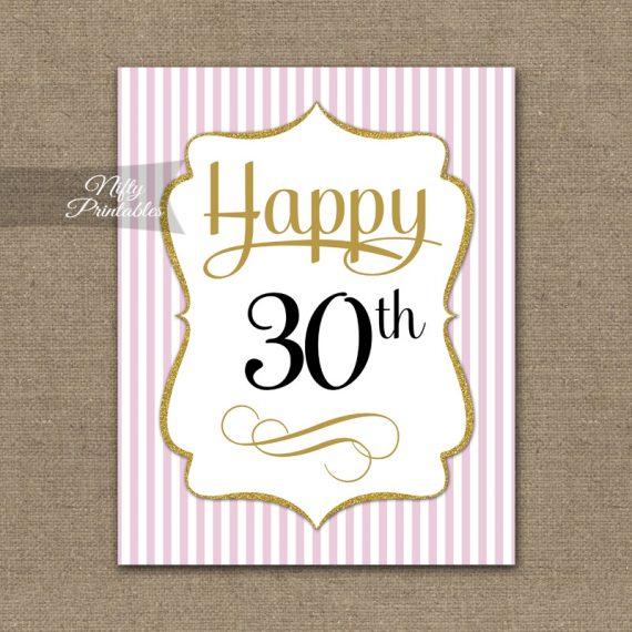 30th Birthday Sign - Pink Gold