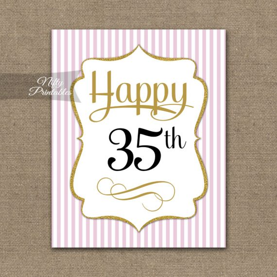 35th Birthday Sign - Pink Gold