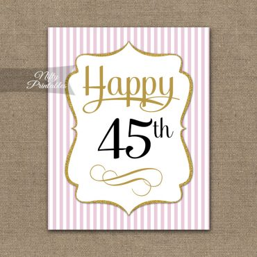 45th Birthday Sign - Pink Gold
