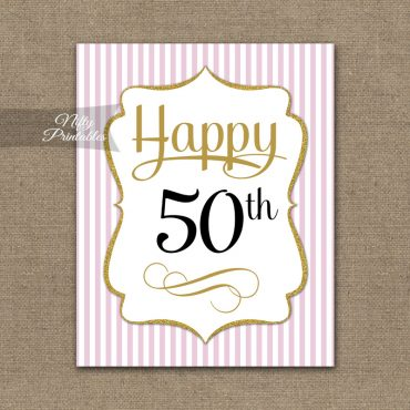 50th Birthday Sign - Pink Gold