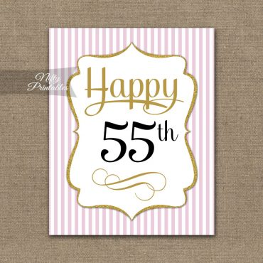 55th Birthday Sign - Pink Gold