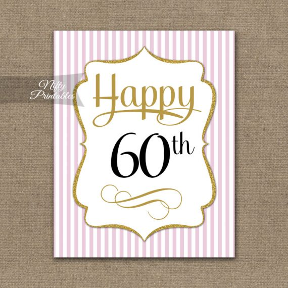 60th Birthday Sign - Pink Gold