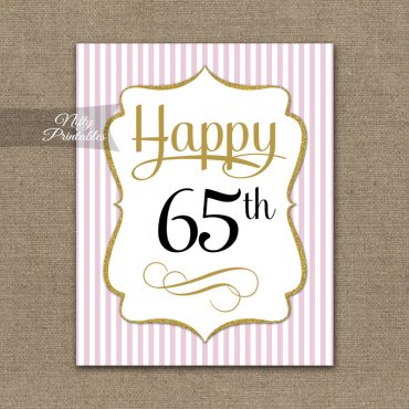 65th Birthday Sign - Pink Gold