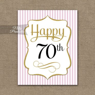70th Birthday Sign - Pink Gold